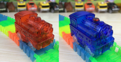 mašinka modrá + červená